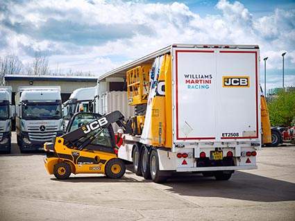 The JCB Williams Martini Racing truck prepares for its European road trip